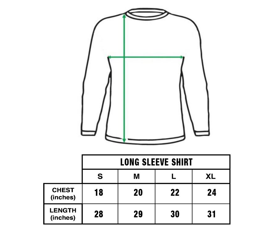 long sleeve shirt size guide