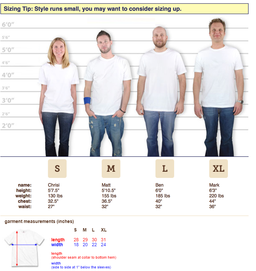 t shirt size chart
